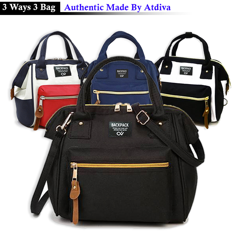 Atdiva Tas Ransel Selempang 3 Ways Bag Simple Casual Multifungsi Slimie