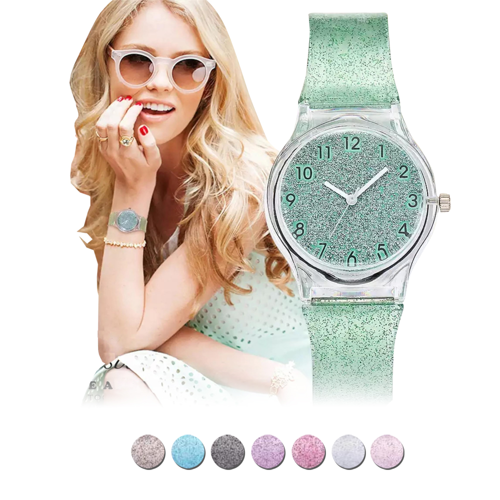 Ladies Fashion Watch Silicone Jelly Glitter Jam Tangan Jelly Wanita  d59e7b8af7