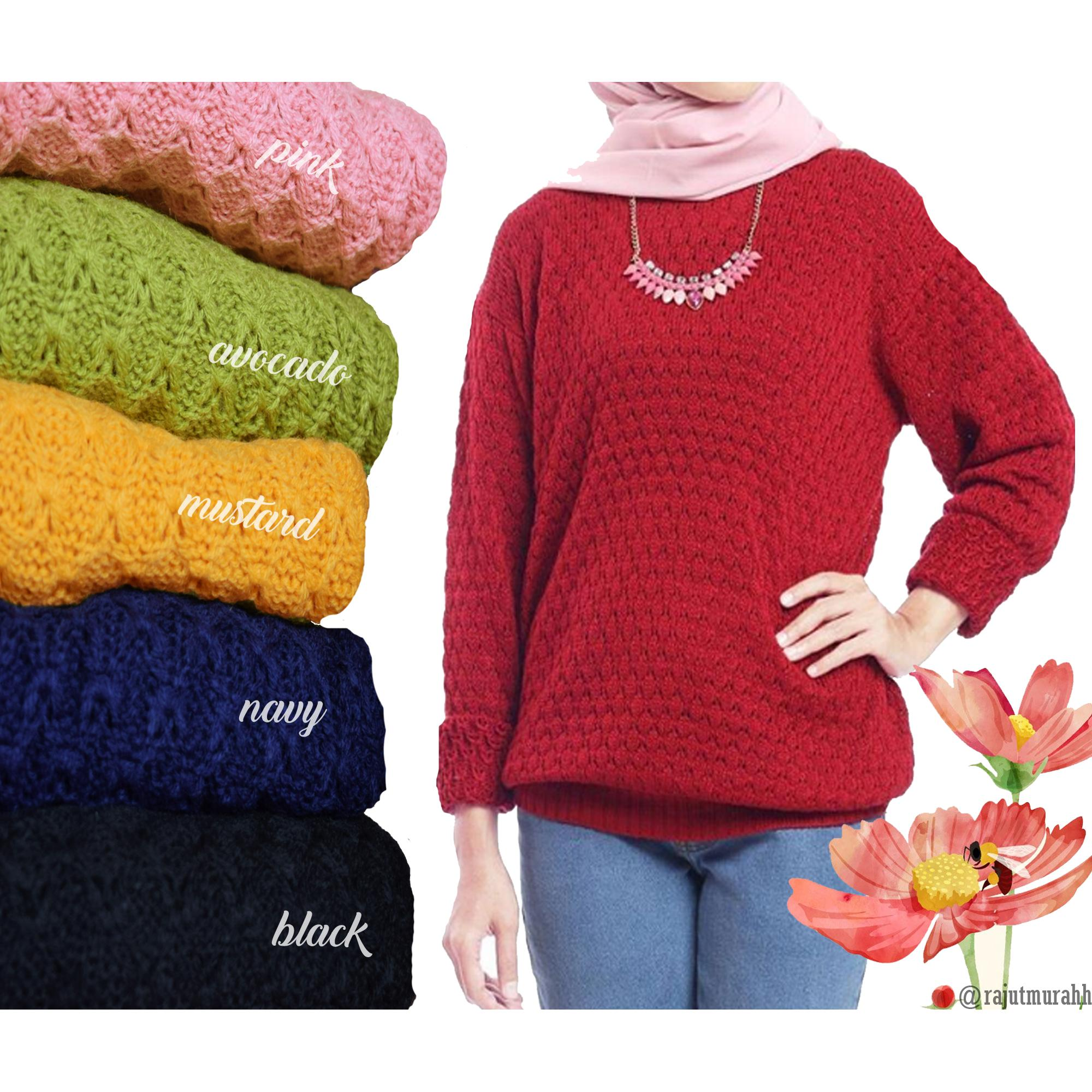 FARIZA SWEATER PINEAPPLE / ATASAN RAJUT WANITA / SWEATER RAJUT TEBAL